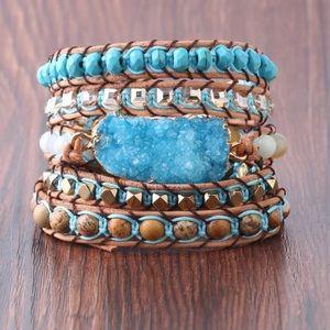 New! Handmade Leather Druzy Stone Beaded Bracelet